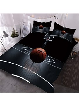 3D Basketball Sporty Bedding 3-Piece Black 3D Comforter Sets with 2 Pillow Shams Machine Washable Microfiber Comforter