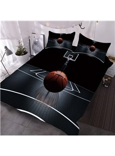 Basketball_on_the_Court_Printed_3Piece_3D_Black_Comforter_Sets