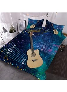 Guitar with Musical Notation Printed 3D 3-Piece Comforter Sets