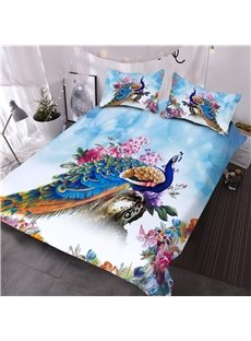 Peacock and Peony Watercolor 3D Printed 3-Piece Comforter Sets