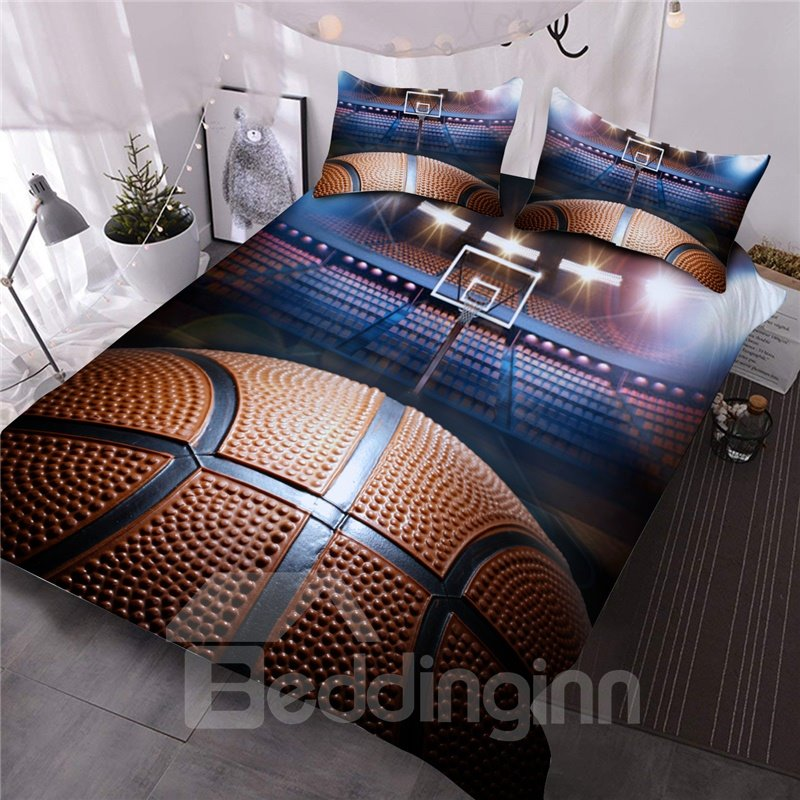 Shooting a Basketball in Empty Basketball Court 3D Printed 3-Piece Comforter Sets