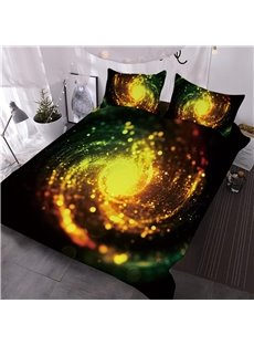 Golden Spiral Dreamy Galaxy 3D Printed 3-Piece Comforter Sets