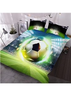 Soccer Ball with Stadium 3D Printed 3-Piece Comforter Sets