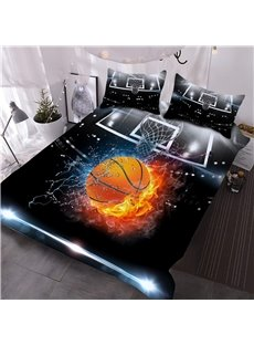 Basketball Ball in Fire and Water 3D Printed 3Pcs Lightweight Warm Comforter Sets