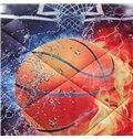 Basketball Ball in Fire and Water 3D Printed 3-Piece Comforter Sets