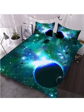 Galaxy and Celestial Body 3D Printed 3-Piece Comforter Sets