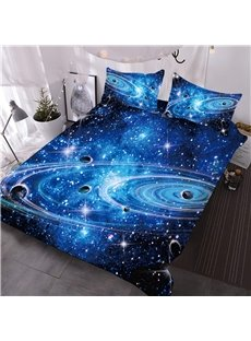 Galaxy 3D Printed 3-Piece Comforter Sets Microfiber No-Fading with 2 Pillowcases Zipper Ties