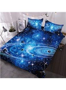 Universe Planet Galaxy 3D Printed 3-Piece Comforter Sets