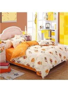 Fried Chicken and Fries Sanding Aloe Vera Cotton 4-Pieces Bedding Sets