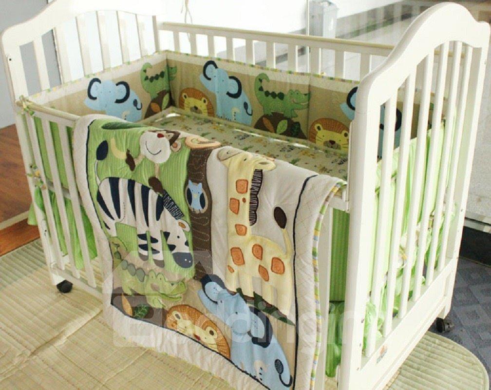 Cartoon Animal Printed 4-Piece Crib Bedding Sets