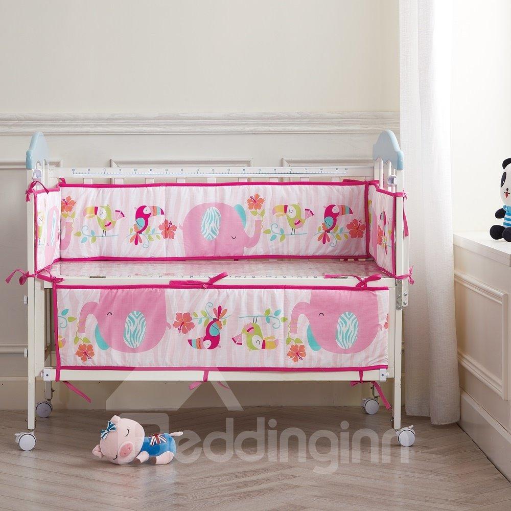 Bird and Elephant Cartoon Animal Printed Pink 4 Baby Crib Bumpers