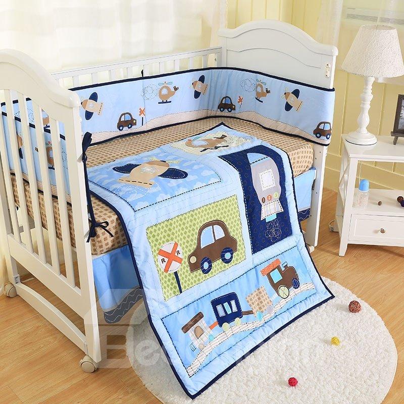 Cartoon Car and Rocket Printed 4-Piece Crib Bedding Sets