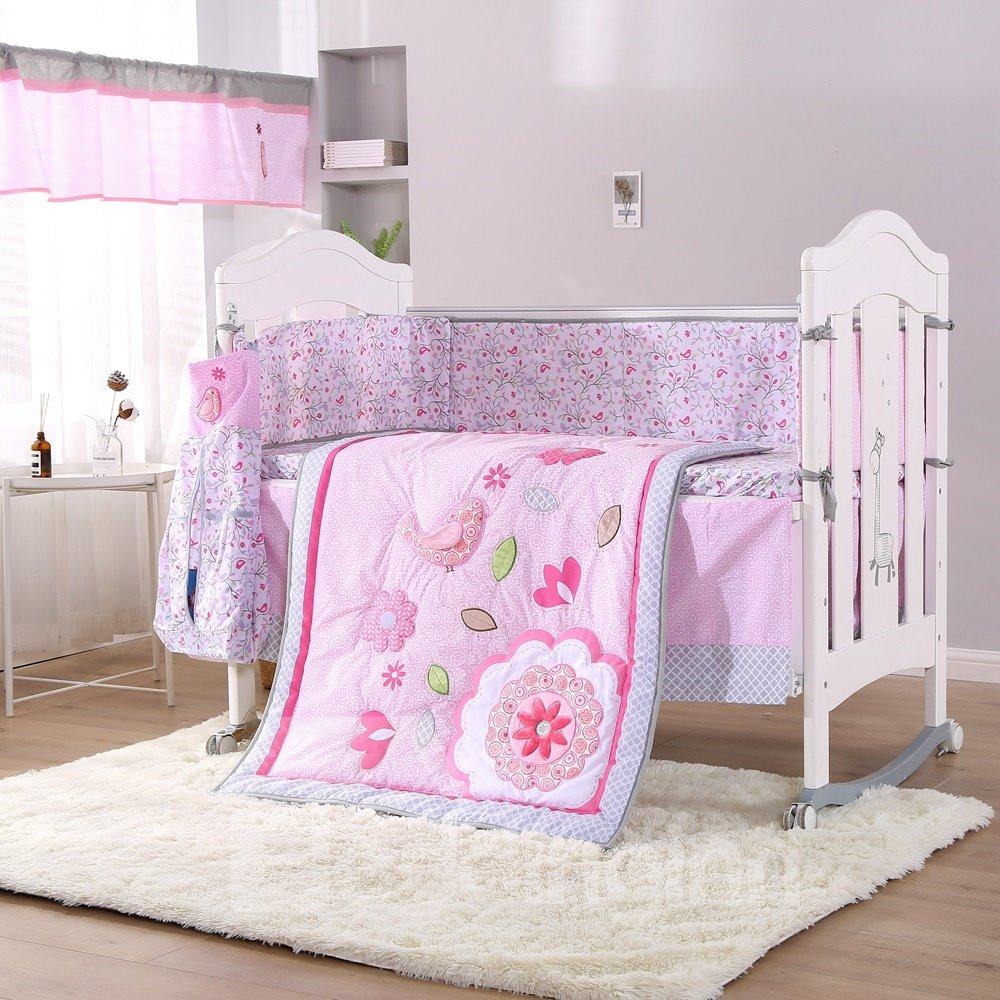 Cartoon Bird and Flower Printed 6-Piece Crib Bedding Sets