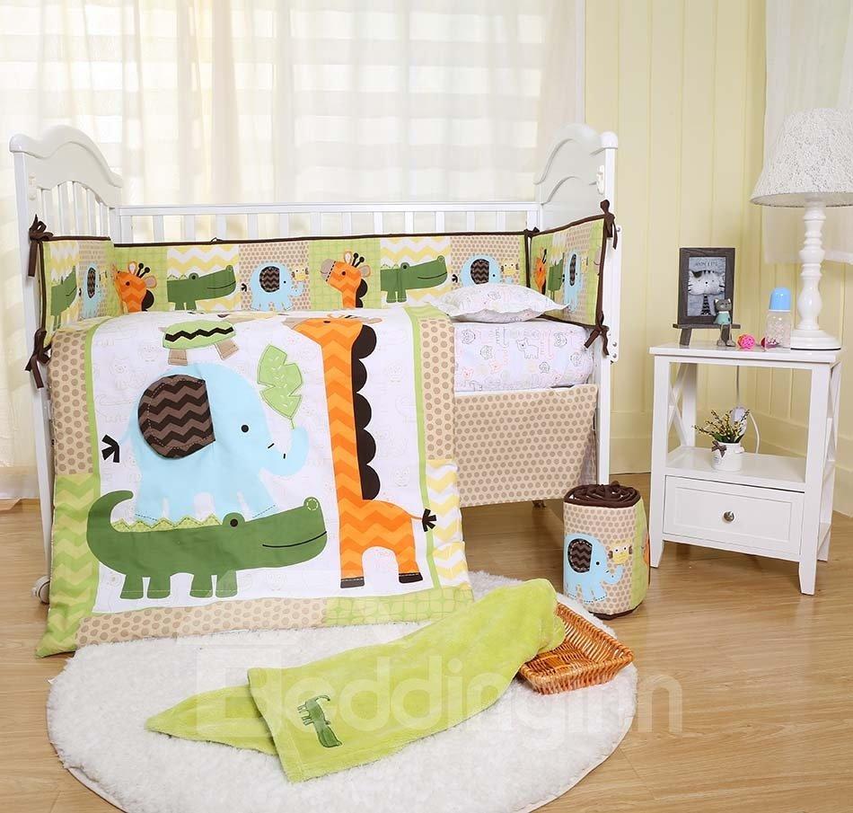 Cartoon Crocodile Giraffe Animal Printed 6-Piece Baby Nursery Crib Bedding Sets