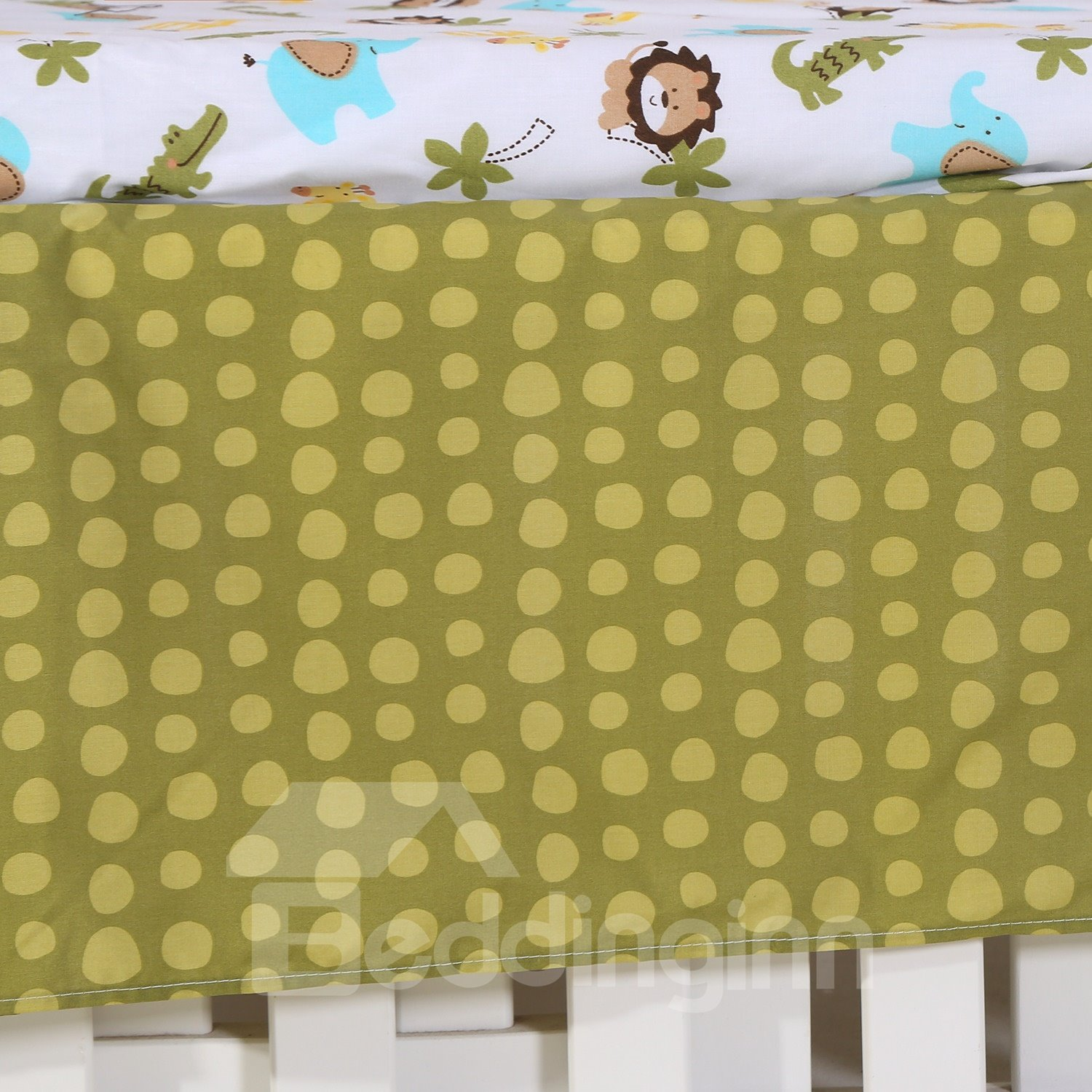 Lion and Crocodile Animal Printed 4-Piece Baby Nursery Crib Bedding Set