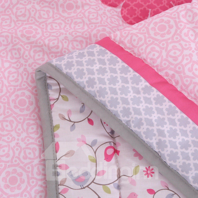 Bird and Flower Printed Pink 4-Piece Baby Nursery Crib Bedding Set