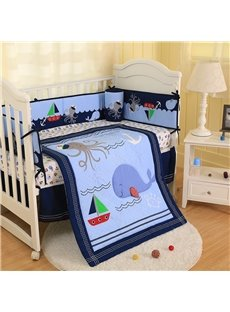 Cartoon Dolphin and Octopus Printed 5-Piece Crib Bedding Sets