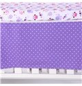 Flower and Elephant Animal Printed Purple 5-Piece Crib Bedding Sets