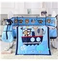 Cartoon Money and Lion Printed Blue 6-Piece Baby Nursery Crib Bedding Sets