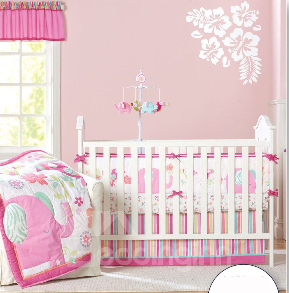 Sweet Pink Flower and Elephant Printed 4-Piece Crib Bedding Sets