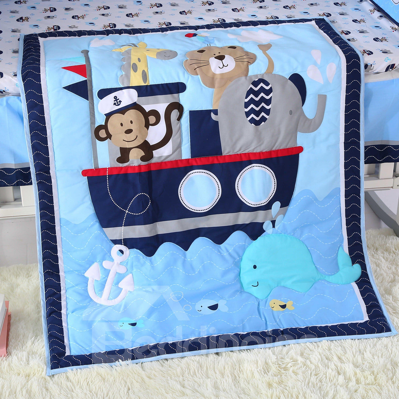 Cartoon Animal Monkey and Elephant Printed Blue 4-Piece Crib Bedding Sets
