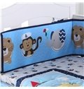 Cartoon Animal Monkey and Elephant Printed Blue 4-Piece Crib Bedding Sets