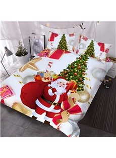 Vivid Santa and Christmas Tree Printed 3-Piece 3D White Comforter Sets
