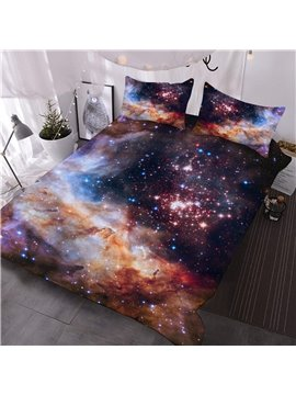 Space Galaxy Printed 3-Piece Fluorescent Bedding 3D Comforter Sets with 2 Pillow Shams Machine Washable Comforter