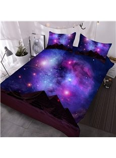 Scintillating Galaxy and Mountain Printed 3-Piece 3D Purple Comforter Sets