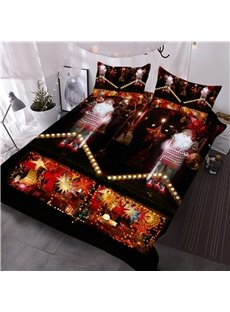 Santa Claus and Christmas Candle Printed 3D 3-Piece Comforter Sets