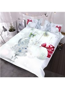 Silvery Christmas Tree and Ornaments Printed 3-Piece 3D Comforter Sets
