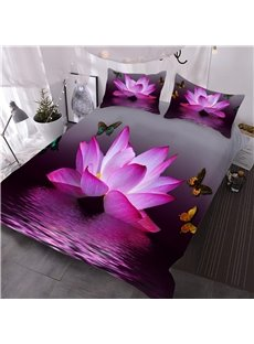 Pink Lotus and Butterfly Printed 3-Piece 3D Comforter Sets