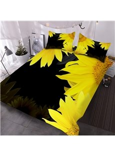 Sunflower Printed 3-Piece Black 3D Comforter Sets