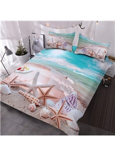 Ocean Starfish Seashells Convenient Cleaning 3D Printed 3-Piece Polyester Soft Comforter Sets Ligntweight No-fading Digital Printed Comforter for All Seasons