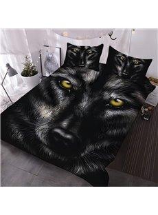 Wild Wolf Digital Printing 3-Piece 3D Black Comforter Sets