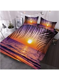 Sea and Sunset Peaceful Purple Digital Printed 3-Piece 3D Comforter Sets