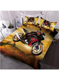 Cool Red Sports Motorcycle Printed 3-Piece 3D Comforter sets
