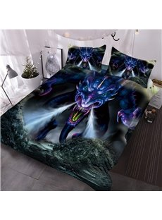 Powerful Dragon Digital Printing 3-Piece Red 3D Comforter Sets