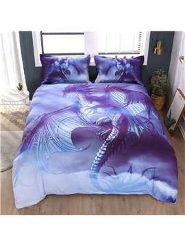 3D Flying Dragon Spread the Wings in Sky 3-Piece Breeze Comforter Sets Vivid Digital Printing Comforter for Boys