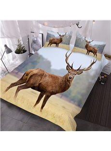 Watching Wapiti Deer Printed 3D 3-Piece Comforter Sets