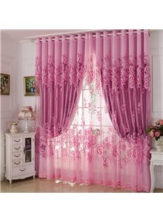 Blackout Classical Pink Gilding Carving Sheer and Solid Lining Room Curtain Sets