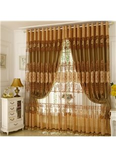 European Style Floral Pattern Jacquard Technics Polyester Material Curtain Sets