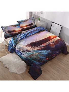 Water Heart-shaped Sunset Scenery Printing 3D 3-Piece Comforter Sets Polyester