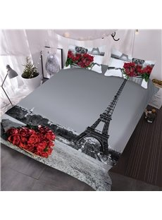 Romantic Red Rose and Eiffel Tower Grey Printed 3-Piece 3D Skin-friendly Endurable Comforter Sets Include 2 Pillowcases 1 Comforter