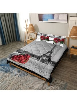 Romantic Red Rose 3D Printed 3-Piece Skin-friendly Endurable Polyester Comforter Sets 2 Pillowcases 1 Comforter