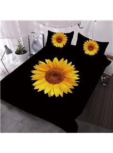 Sunflower Printed Yellow and Black 3D 3-Piece Comforter Sets