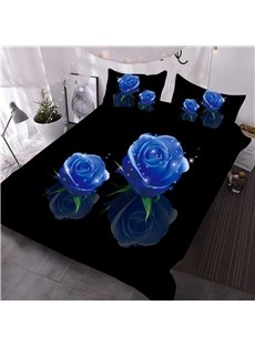 Blue Shining Rose Digital Printed 3-Piece 3D Comforter Sets Endurable Skin-friendly All-Season