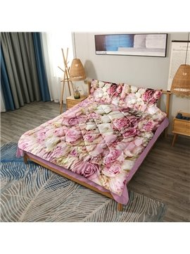 3D Romantic Bouquets of Pink Roses 3-Piece Soft Warm Lightweight Microfiber Floral Comforter Sets for All Seasons 2 Pillowcases