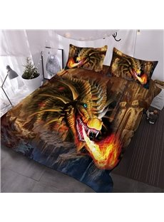 Golden Dragon Spouting Fire 3D Microfiber Animal Lightweight Comforter 3 Pieces No-Fading Comforter Set with 2 Pillowcases