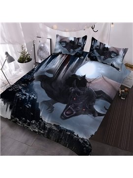 Dragon Spouting Fire 3D Animal Print Comforter Set 3-Piece Bedding Set No-Fading Polyester Comforter with 2 Pillowcases